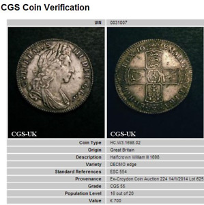 1698 AEF William III Silver Half Crown Coin CGS 55, AU55  ☆☆☆ Spink £1350 EF ☆☆☆