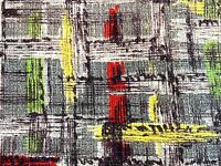 SALE Mid Century Camper Barkcloth Vintage Fabric Drape Curtain Valance Plaid 50s