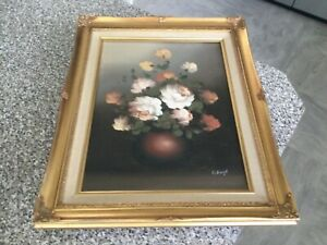 """""""Vintage french style rococo gold gilt frame floral oil painting"""