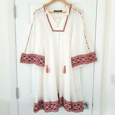 FRENCH CONNECTION Adanna Crinkle Ethnic Smock Boho Mexican Dress UK 10 Tunic