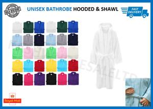 Mens & Ladies 100% Cotton Terry Towel Shawl & Hooded Bathrobe Gown Bath Robes