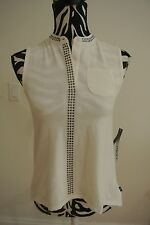 NWT.Girls DKNY vanilla ice color 1/2 buttoned /studs/sleeveless top;XL