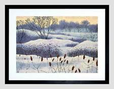 PAINTINGS LANDSCAPE PAINTING WINTER SNOW TREE BLACK FRAMED ART PRINT B12X9844