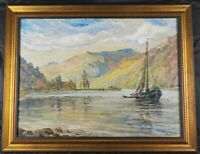 Vintage Original 1947 Oil Painting Maine by German Artist Adolf Gerhard Listed