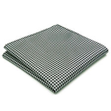 "JH20 Houndstooth Black White Mens Pocket Square Business Silk Hanky 12.6"" Large"