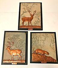 Vtg Copper Fossilized Stone Wall Art Triptych E Kohler Brasil 77 Cougar Stag Elk