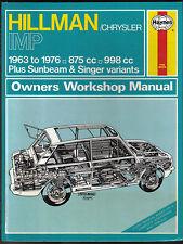 Hillman Chrysler Imp Sunbeam Singer 1963-76 Haynes Owners Workshop Manual No 22