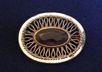 Vintage Victorian Marked EIF CO Ornate Oval Purple Stone Pin Brooch