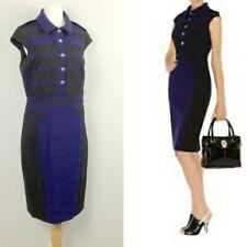 Karen Millen Strech Pencil Shirt Dress 12 Black Purple Colour Block Smart Office