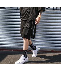 Mens Techwear Shorts Buckle Straps Gothic Punk Short Pants Beach Clubwear 2020