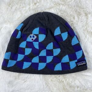 PATAGONIA YOUTH BEANIE STY66054FA15 SIZE M BLUE / BLACK / PURPLE