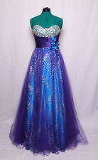 JOVANI PURPLE BLUE SILVER GLITTER FULL TULLE STRAPLESS PROM FORMAL GOWN DRESS 6