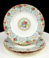 """ROYAL TUSCAN #8389 ORLEANS 3 PIECE FLORAL AND GOLD 6 7/8"""" SALAD PLATES 1934-1973"""