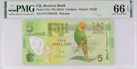 Fiji 5 Dollars ND 2013 P 115 a Gem UNC PMG 66 EPQ