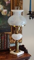 """Vintage Fenton Glass Lamp French Opalescent Spiral Optic 20.5"""" Banker Student"""