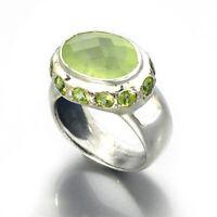 Natural Prehnite  & Peridot Handmade Gemstone 925 Sterling Silver Ring Size 7