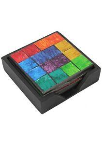 Handmade Glass Drink Coasters with Rainbow Multi Coloured Mosaic Set of 4