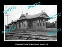 OLD LARGE HISTORIC PHOTO OF CRESTON OHIO, THE ERIE RAILROAD STATION c1910 1