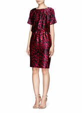 NWT$995 St. John Collection Silk Leopard Print Dress Raspberry/Cheetah [SZ 6]