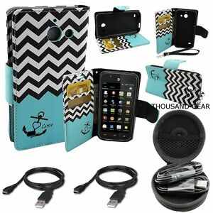 For Huawei Tribute Y536 Wallet Case Card Holder Pouch Cover Anchor Teal + Combo