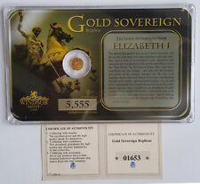 Queen Elizabeth I Miniature 14 CT gold sovereign 0.5 g-scellé avec certificat