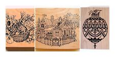 PSX Stamp Vintage Lot Rubber Stamps Large Holiday Thanksgiving Christmas Cottage