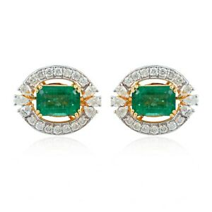 2 ct Green Emerald Diamond Ladies Fine Decon Stud Earrings 18K Yellow Gold Over