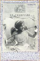1904 Realphoto French Fantasy Postcard: Woman & Newspaper - Le Charivari