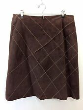 NWT  ETCETERA Chocolate Brown Suede Leather Harper Skirt Lined size 12  NEW