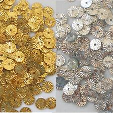 Sequins Sunburst/Starburst/Wheels Paillette Silver or Gold 6mm Loose ~200 pieces