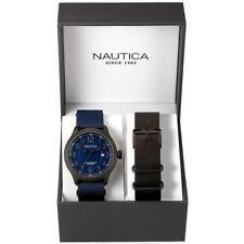 Reloj + Correa NAUTICA BOX SET NAI14519G NCC 01 De Tela Azul Cuero Negro