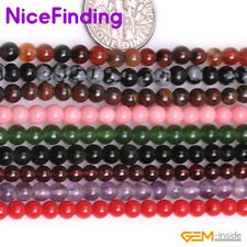 Natural Round Agate Stone Beads Lot For Jewelry Making In Bulk Size/Color Pick