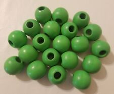 "Lot of 20 Green Wood Round Macrame Wooden Craft Plant Hanger Beads 1-1/4"" 35mm"