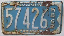 Pennsylvania 1962 MOTOR BIKE License Plate # 57426