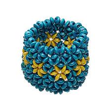 Boho Chic! Unique Wood Wide Cuff Bracelet Deep Rich Blue with Stars