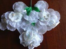 Vtg Millinery Flower White Organdy Velvet Sprigs HintOf Blue for Hat + Hair iY14