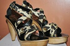 CHRISTIAN DIOR INITIALES WOODEN LEOPARD PLATFORM SHOES HEELS STRAPPY SANDALS 40
