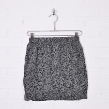 Silence + Noise Urban Outfitters 80s Grey Abstract Print 100% Silk Mini Skirt S