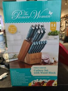 The Pioneer Woman 14-Piece Forged Cutlery Block Set Turquoise Teal