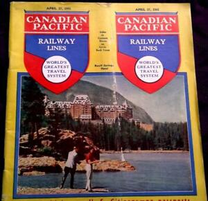 CANADIAN PACIFIC RAILWAY LINES APRIL 1941 TIMETABLE BOOK