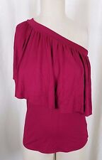 Anthropologie Gemma One Off Shoulder Top By Three Dots Plum Womens S NWT $88