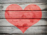 ART PRINT POSTER PHOTO LOVE HEART PAINTED OLD WOODEN WALL LFMP0500