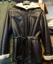 Wilsons Leather Brown Faux Sherling Lined Jacket Coat Women's Large