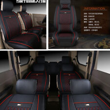 NEW Wearproof PU Leather 7-Seats Car Full Set Car Seat Cover Black with Red