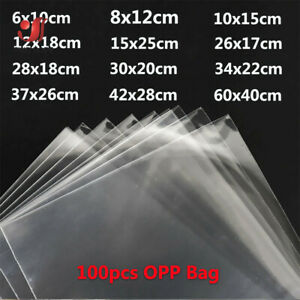 100pcs Strong Clear Cellophane Bags Self Adhesive Seal Plastic OPP Packaging