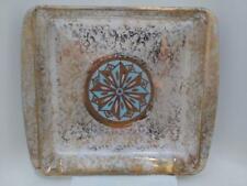 Vintage George Briard Aqua and Gold Design Pyrex Square Baking Dish Mid Century