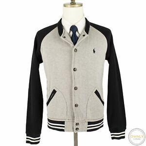 CURRENT Polo Ralph Lauren Grey Black Cotton Blend Jersey Knit Bomber Jacket M