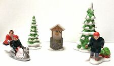 Dept 56 Heritage Village New England Winter Accessory Set Trees Figures Sledding