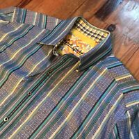 Robert Graham Blue Striped Colorful Mens Large Button Down Up Flip Cuff Shirt