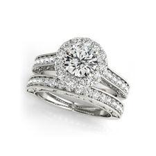 1.30 Ct Band Set Diamond Wedding Ring Round Cut 14K Real White Gold Size U